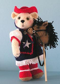 Texas Western Teddy Bear Amigurumi - FREE Crochet Pattern and Tutorial by Sue Pendleton