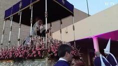 La cofradia procesiona desde el Colegio del Salvador hasta San Cayetano. Al comienzo del recorrido han rendido homenaje a Juan Murillo, quien fuera Hermano Decano de la cofradía.