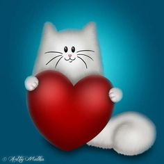 """""""Kitty always loves you just the way you are""""🎃‡※§🐱 Crazy Cat Lady, Crazy Cats, Calin Couple, Cat Drawing, Heart Art, Cool Cats, Cats And Kittens, Emoji, Cat Lovers"""