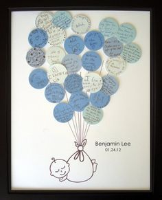 This can go inside the scrapbook - get everybody to write a message on baby shower day!