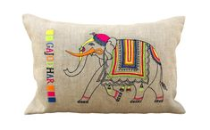 Linen pillow cover,Indian elephant, embroidered pillow case,bright colours, lumbar pillow