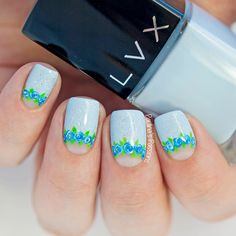 Blue Floral Nails by Paulina's Passions