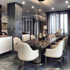 47 Trendy Dining Room Designs Ideas You Cant Miss Out - When considering dining room design in your home, you primarily have the décor and furniture to consider. These factors will largely be influenced by . Luxury Dining Room, Dining Room Sets, Living Room Chairs, Table Design, Dining Room Design, Chandelier In Living Room, Luxury Interior Design, Interior Decorating, Room Decor