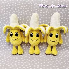 CROCHET BANANA PATTERN, Amigurumi crochet fruit with eyes pattern, Crochet play food, Fruits tutorial, Knit toys pattern