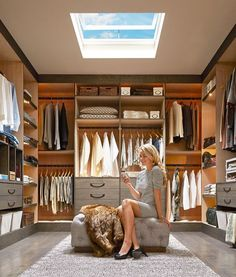 If your closet is large enough, give yourself a place to sit down to dress. A simple, attractive bench can make the space truly functional as a dressing room as well as a storage room. As you design your closet, consider adding a full-length mirror. This is a great place to check your outfit before you run out the door for the day.Design Ideas - Master closet with velux skylights