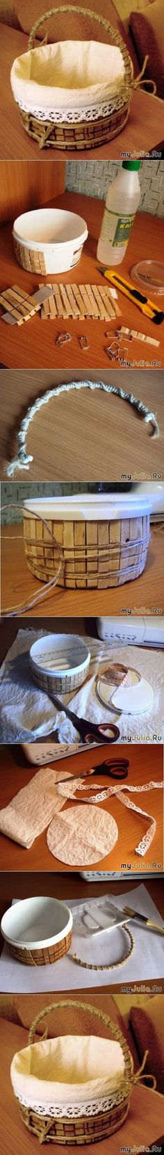 homemade basket with clothes pins. Diy Projects To Try, Craft Projects, Craft Tutorials, Craft Ideas, Free Tutorials, Fun Crafts, Diy And Crafts, Diy Storage, Storage Baskets