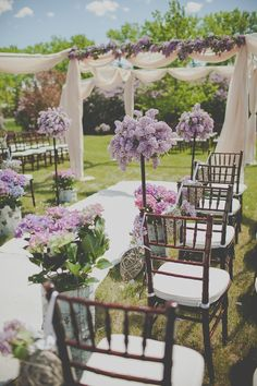 Prettiest spring wedding ideas---Purple floral and chiffon decorated wedding ceremony, perfect for spring summer outdoor wedding venue, make it yourself to save a lot of money. Wedding Ceremony Ideas, Wedding Themes, Wedding Events, Wedding Decorations, Wedding Seating, Wedding Reception, Purple Wedding, Wedding Colors, Lilac Wedding Flowers