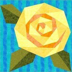 489767146717459004860 Rosies Rose Paper Pieced Quilt Block