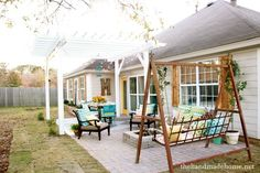backyard bliss: installing patio pavers and a fire pit {diy patio} {diy fire pit}the handmade home Pergola Shade, Pergola Patio, Diy Patio, Backyard Patio, Backyard Landscaping, Pergola Ideas, Patio Ideas, Pergola Swing, Pavers Ideas