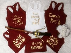 UPDATED 2019 Harry Potter bachelorette party ideas for your fellow muggles Get ready because these HP ideas are pretty amazing. Disney Bachelorette, Bachelorette Party Shirts, Bachelorette Party Decorations, Bachelorette Party Favors, Bachlorette Shirt Ideas, Harry Potter Shirts, Theme Harry Potter, Harry Potter Wedding, Anniversaire Harry Potter