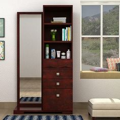 Buy latest wooden dressing table online in India. Get makeup ⭐dressing table⭐ with mirror and storage from wide range of modern dressing table @ Wooden Street Dressing Table Mirror Design, Dressing Table Wooden, Wardrobe With Dressing Table, Dressing Table Storage, Furniture Dressing Table, Bedroom Dressing Table, Dressing Mirror, Dressing Table With Drawers, Wardrobe Door Designs