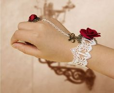 Steampunk Adjustable White Lace Rose /& Vine Pattern Crochet Choker w Pink Rose and Metal Mask Dangles