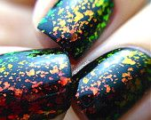 FLAKIE Topcoats(Inferno)  Multi-Color Shifting Polish:  Custom-Blended Glitter Nail Polish / Indie Lacquer / Polish Me Silly