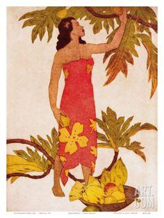 Breadfruit, Royal Hawaiian Hotel Menu Cover c.1950s Art Print by John Kelly at Art.com