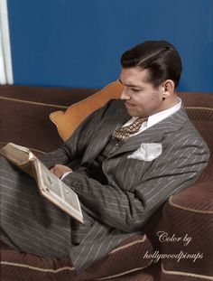 "Clark Gable was voted the ""King of Hollywood"" in around the time this portrait was taken. Color by Old Hollywood Style, Hollywood Men, Old Hollywood Movies, Hooray For Hollywood, Golden Age Of Hollywood, Vintage Hollywood, Hollywood Stars, Classic Hollywood, Hollywood Pictures"