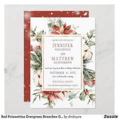 Gold Wedding Invitations, Custom Invitations, Colored Envelopes, White Envelopes, Whitehall Manor, Envelope Liners, Poinsettia, Evergreen, Special Occasion