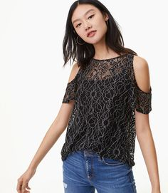 The lace overlay is interesting and looks really adorable.  Lace Cold Shoulder Top  #shopping #fashion #womensfashion #style