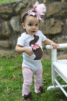 Baby Girl Easter Outfit -- Chocolate Bunny Outfit --  Onesie and Leg Warmers -- pink and brown polka dots. $34.00, via Etsy.