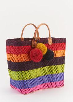 Mar y Sol Pom-Pom Raffia Bag | www.rodales.com