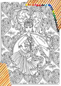 Showgirl Colouring Page 'The Circus Girl Colouring