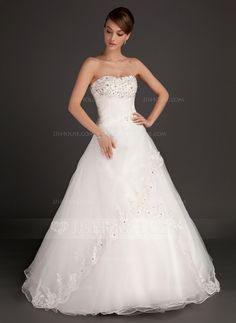 [US$ 189.99] Ball-Gown Sweetheart Floor-Length Satin Organza Wedding Dress With Ruffle Lace Beading