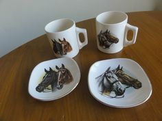 2 x coffee mugs cups Bate Cornwall Horses matching saucers Vintage Made England