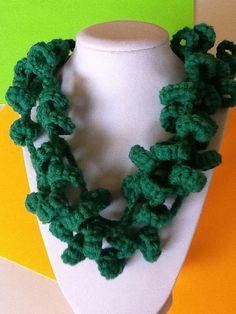 Loopsy Loop Green Handmade Crochet Necklace by joywelry2love, $16.99