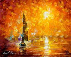 Orange Mist — PALETTE KNIFE Oil Painting On Canvas By Leonid Afremov #art #painting #fineart #modernart #canvas