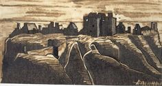 SCOTTISH CASTLES    DUNNOTTAR CASTLE- SCOTLAND. Mixed technician.    Dibuix del castell escocés de Dunnottar Scottish Castles, Miniatures, Painting, Art, Art Background, Painting Art, Kunst, Castle Scotland, Paintings