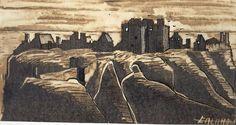 SCOTTISH CASTLES    DUNNOTTAR CASTLE- SCOTLAND. Mixed technician.    Dibuix del castell escocés de Dunnottar