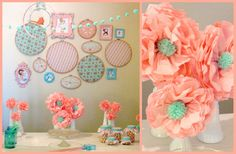 peach and teal paper poms | real parties: sweet vintage in salmon & teal