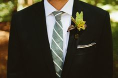 Mint striped tie for the groom