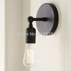 Vintage Brief Retro Style Wall Light Sconce Edison Vintage Bulb Lamp.Here you can find out many excellent LED products.They will be not only good gifts but also beautiful decoration. Lampe Industrial, Industrial Wall Lights, Rustic Lamps, Industrial Bathroom, Rustic Industrial, Bathroom Sconces, Wall Sconces, Wall Lamps, Wall Fixtures