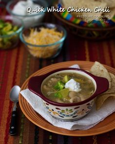 Quick White Chicken Chili from Pressure Cooking Today.  (On the table in less than 20 minutes, score!) #PressureCooker