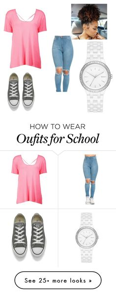"""Rushed to school"" by fleekqueen on Polyvore featuring Boohoo, Converse and DKNY"