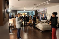 VIPs from a high-end club at our Savoir Beds showroom enjoying a High Tea event