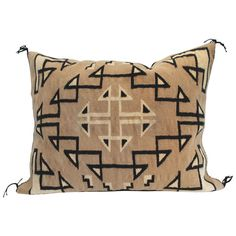 Large Two Grey Hills Navajo Indian Weaving Saddle Blanket Pillow | From a unique collection of antique and modern pillows and throws at http://www.1stdibs.com/furniture/more-furniture-collectibles/pillows-throws/