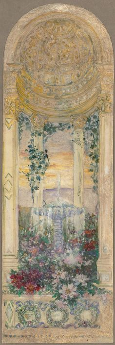 HI RES.  Louis Comfort Tiffany (1848 –  1933) American artist and designer, best known for his work in stained glass. He is the American artist most associated with the Art Nouveau and Aesthetic movements.  Late 19th–early 20th century Watercolor The Met