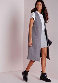 Missguided - Longline Sleeveless Tailored Wool Blazer Grey