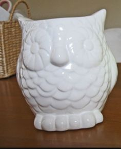 A cute white owl pencil holder. Or make up brushes.