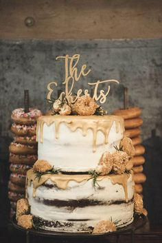 wedding cakes with donut towers - photo by A Sea of Love http://ruffledblog.com/modern-industrial-wedding-with-lots-of-greenery