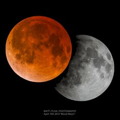 """I took this picture of the 2014 """"Blood Moon"""" on April 15th.  The eclipse hit it's peak at 3:46am E.S.T. resulting in a blood red moon.  Prior to that at 1:58am E.S.T. the Lunar Moon partial eclipse began as a dark shadow began creeping across the surface."""