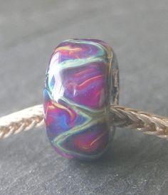Silver Core Options - OOAK Silver Foil Handmade Lampwork Glass European Charm Bead - Self Representing Artist