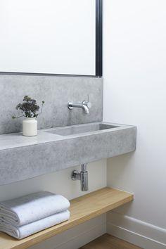 cement vanity | custom vanity | modern lines | minimal | floating shelf storage | white oak timber | hexagon tile | walk-in shower | marble | sage | white | Pipkorn & Kilpatrick Interior Architecture and design | Brighton house