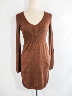 NWT INTIMISSIMI Sz S BROWN BRONZE HIGH WAIST SWEATER DRESS #intimissimi #SweaterDress #any
