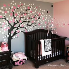 I love the grey and pink wall colors. The tree is a little overwhelming but I also love the dark wood crib!