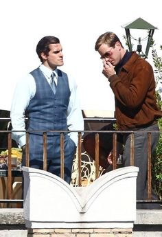 CAN'T TELL WHO'S HOTTER: Henry Cavill or Armie Hammer. Original caption: 'The Man from U.N.C.L.E.' films in Rome on October 2, 2013.