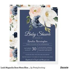 Shop Lush Magnolia Rose Navy Blue & Blush Bridal Shower Invitation created by PrettyInviting. Personalize it with photos & text or purchase as is! Blush Bridal Showers, Bridal Shower Flowers, Bridal Shower Decorations, Baby Shower Cakes For Boys, Beautiful Baby Shower, Unique Baby Shower Gifts, Bridal Shower Invitations, Magnolia, Blues