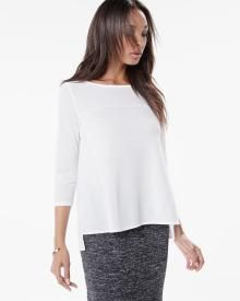 3/4 sleeve high-low top with mesh inserts