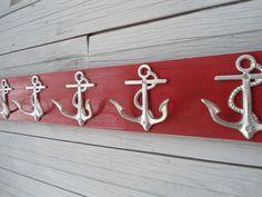 5 anchor wall hooks sailor boat cabin beach decor by riricreations Wooden Coat Rack, Nautical Home, Nautical Style, Nautical Gifts, Nautical Nursery, Cottage Chic, Wood Cottage, Cottage Style, Cottage Ideas
